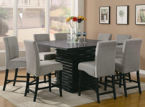 Coaster Home Furnishings Stanton Contemporary Counter Height Dining Set with Counter-Height Black Dining Table and 8 Grey Dining Chairs