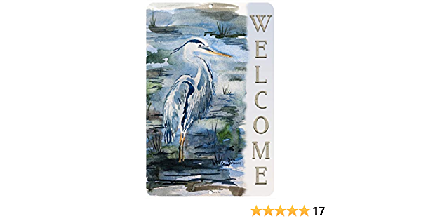 Beach Sign nautical sign bird Welcome Large Welcome Sign with heron Rustic heron Porch Sign heron Welcome Wood Sign