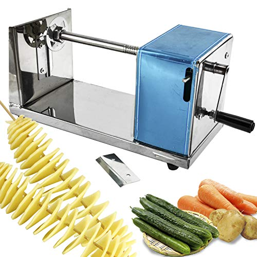 Homend Manual Stainless Steel Twisted Potato Slicer Spiral Fruit Vegetable Cutter French Fry Manual Tornado Chips Machine