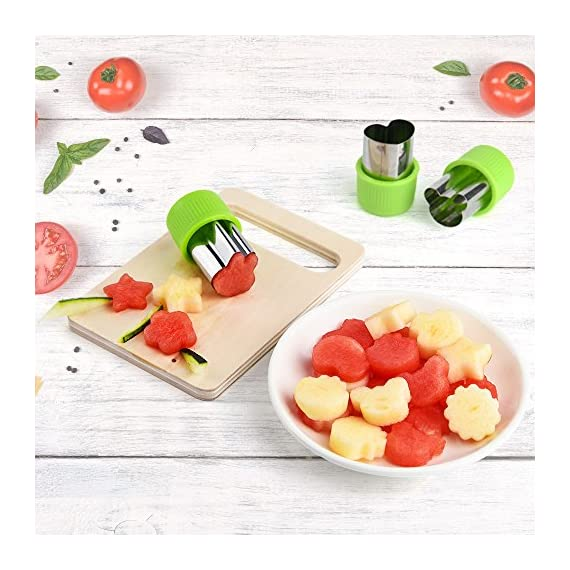 KUUQA Vegetable Cutter Shapes Set Flower Star Cartoon Animals Fruit Mold Decorating Tools for Cookies Fruit Decoration Kids Baking Craft Supplies with Cleaning Brush,12PCS 6 Vegetable/ fruit cutter mold set, easy and quickly to decorate your food and look more delicious 12 different shapes and size, include: rabbits, bears, strawberries, mushrooms, stars, love, flowers, lace Material: good quality of food grade stainless steel and PP material handguard, safe and comfortable