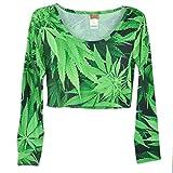 Marijuana Crop Top Long Sleeve Weed Leaf Cannabis Ganja Womens Tshirt Tee Medium