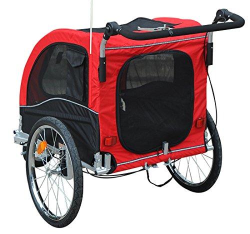 HOMCOM Remolque para Perros Carro para Bicicleta con Kit de Footing Perro Gato Mascotas Rojo: Amazon.es: Deportes y aire libre