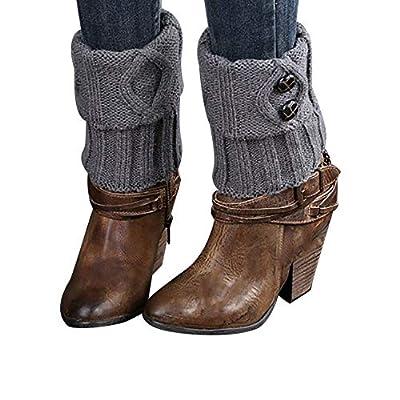 Rawdah_Calcetines Mujer Invierno Divertidos Termicos Algodon Las Mujeres De Invierno Caliente De Punto Calentadores De Piernas Botón Crochet Leggings Calcetines De Arranque Flexible: Ropa y accesorios