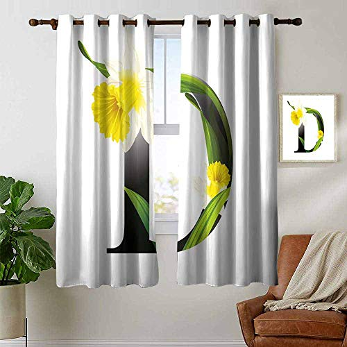 (petpany Thermal Insulated Blackout Curtain Letter D,Black D Silhouette Entangled with Growing Daffodils Artistic with Flowers,Yellow Green Black,Blackout Draperies for Bedroom Living Room 52