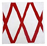 Gitika Goyal Home Windows Collection Cotton Khadi White Napkin 17x17 Diamond Design, Red Hand Screen Print