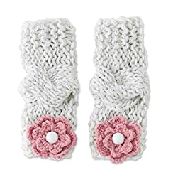 Baby Girls Vintage Gray & Rose Flower Knit Leg Warmers