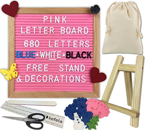 Pink Felt Letter Board 10x10 - Stand, Decorations, Bag, Scissors, File, Guide - Vintage Oak Frame & 680 Changeable Blue White Black Letters - for Announcements, Gift, Photo Prop, Quotes, Toy, etc.