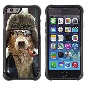ZAKO Cases / Apple Iphone 6 PLUS 5.5 / Dog With Pipe / Robusto Prueba de choques Caso Billetera cubierta Shell Armor Funda Case Cover Slim Armor