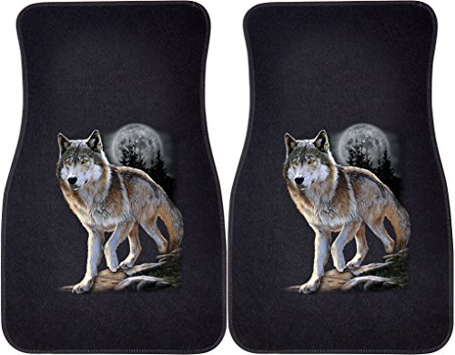 Wolf Car Mats - Express Yourself Products Wolf Alert (Black) Car and Truck Front Mats - Set of 2