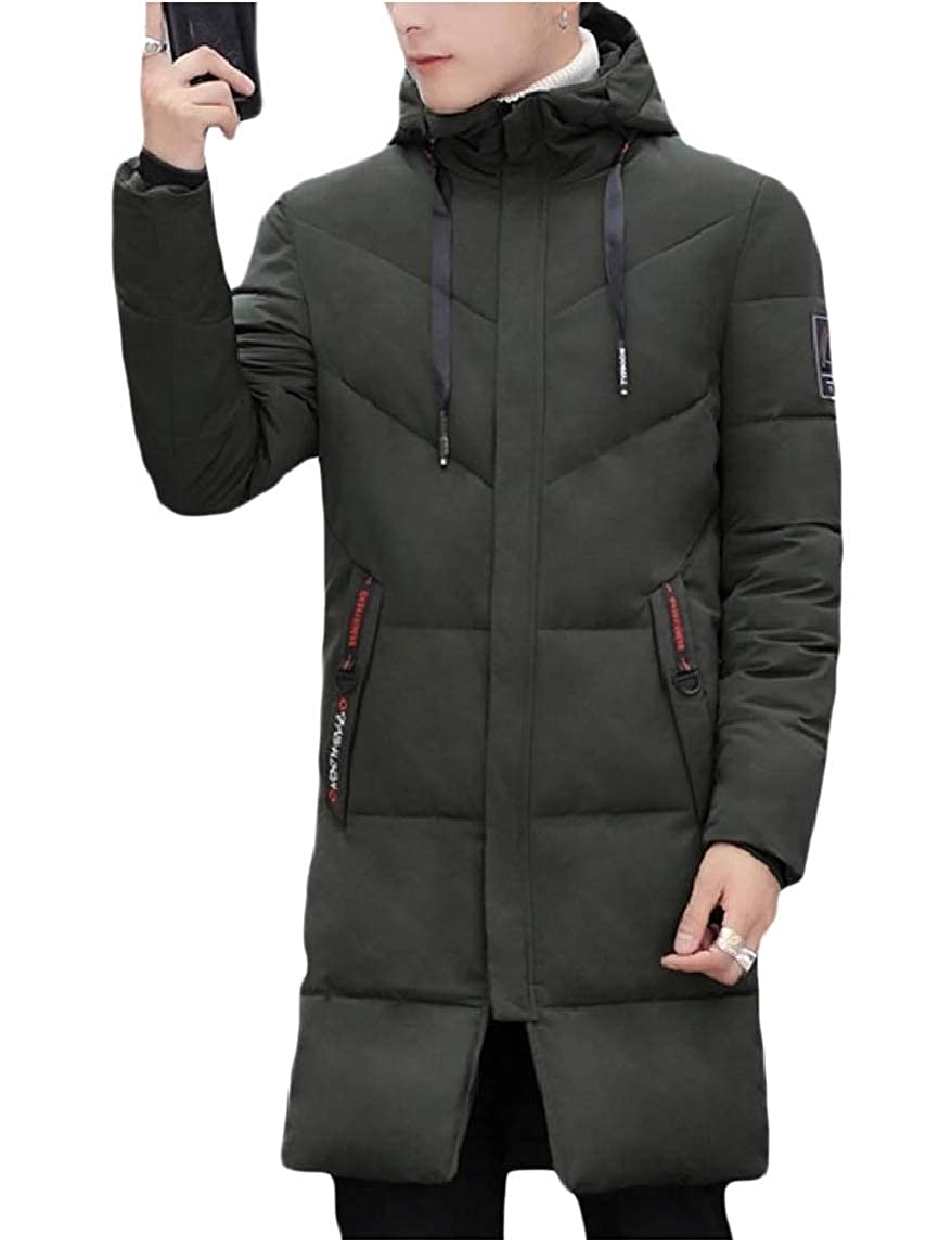 NestYu Mens Outwear Quilted Puffer Hooded Slim Padded Brumal Down Coat