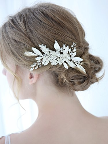Aegenacess Wedding Hair Comb Decorative Side Clip Rhinestones Flower Leaf Crystal Accessories for Brides and Bridesmaids - Bridal Silver Vintage Greek Goddess Dainty Prom Headpiece for Women and Girls