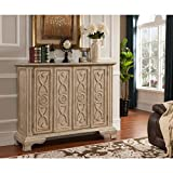 Coast to Coast Imports, LLC Treasure Trove Accents Kendall Texture Ivory Two Folding Door Cabinet