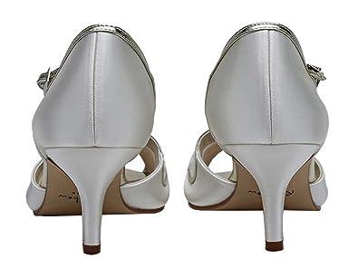 7d23f329fe83 Peep Toe T-Bar Peep Toe Ivory Satin Wedding Shoe Rainbow Club Harlow Shoes    Bags