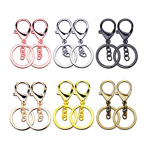 Sunmns Classical Metal Lobster Clasp Lanyard Snap Hook with Key Chain Keychain Rings, Colorful, 12 Pieces ()