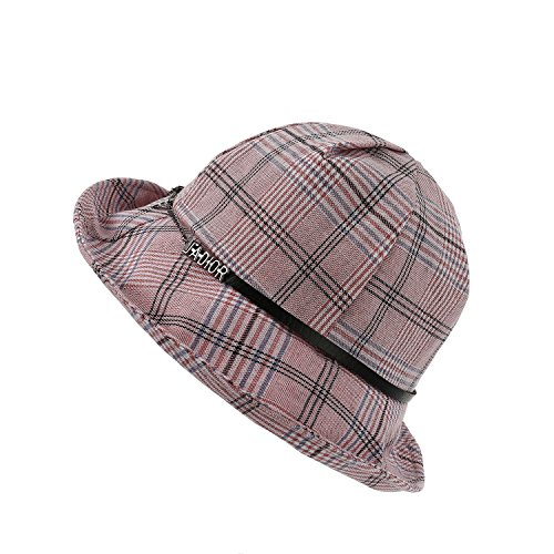 Dantiya Women's Summer Packable Reversible Lattice Pattern Belt Fishing Bucket Hat Sun Cap (Pink)