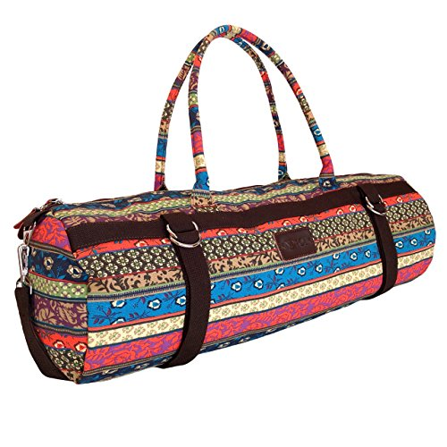 Yoga Mat Bags Carrier Patterned Canvas with Pocket and Zipper (Harvest)