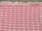 Handmade, New, Baby Blanket measures 33'' wide x 33'' long with a unique puff stitch, & a unique wave border. Reversible colors, pink with white puff stitch, white with pink puff stitch, & white border.