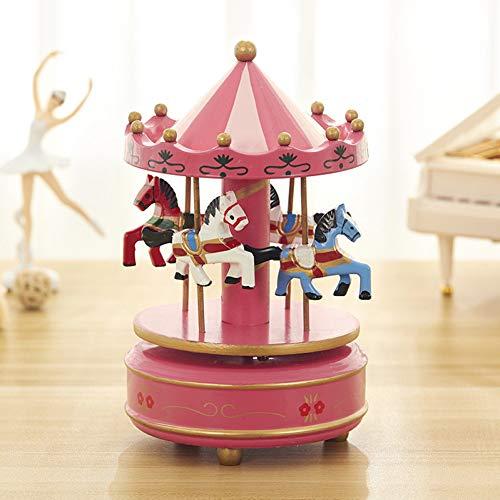 (SHANYYH Music Box Carousel Music Box Top Umbrella Clockwork Music Box Creativity Wood Crafts Home Gifts Desktop Decoration)