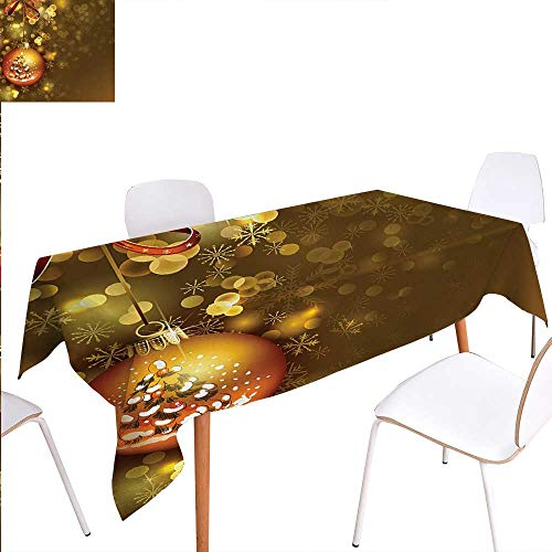 Warm Family Christmas Washable Tablecloth Xmas Ball with Baubles Vivid Religious Wish Gleams Holiday Concept Artwork Print Waterproof Tablecloths 70