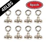 AUTIDEFY Powerful Heavy Duty Neodymium Magnetic Hooks Eyebolt, 48LB(22KG) Pull Magnet,Diameter 0.98 inches (25MM) 8 per pack
