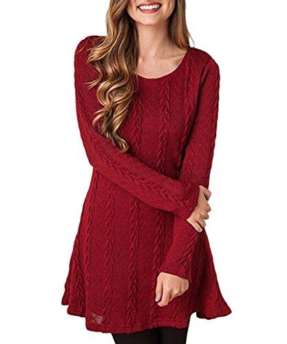 Milkuu Women's Knitted Long Sleeve Fall Tunic Dress