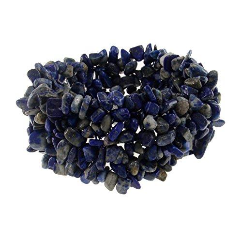 Lazuli Blue Chip Lapis (Pearlz Ocean Lapis Lazuli Chips Stretch Bracelet Made of Gemstone Bead Fashion Jewelry for Women Blue)
