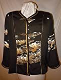 Black Silk jacket from vintage kimono, size XL petite. Asian motifs. One of a Kind #F37