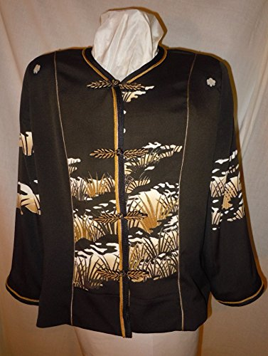 Black Silk jacket from vintage kimono, size XL petite. Asian motifs. One of a Kind #F37 by First Fruits Apparel
