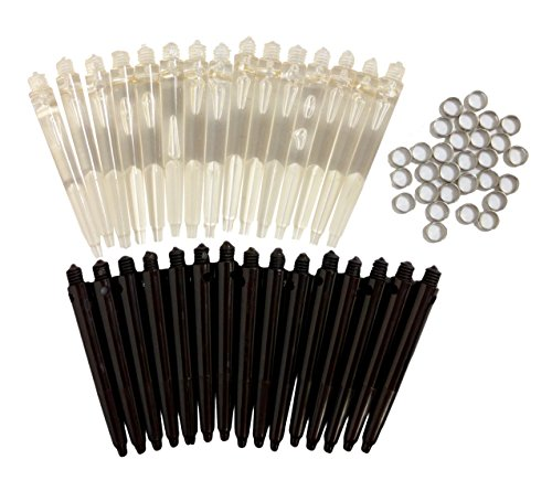Cavalier 10 Set/ 30pcs Medium Nylon Darts Shafts Darts Stem -Clear Crystal + Black