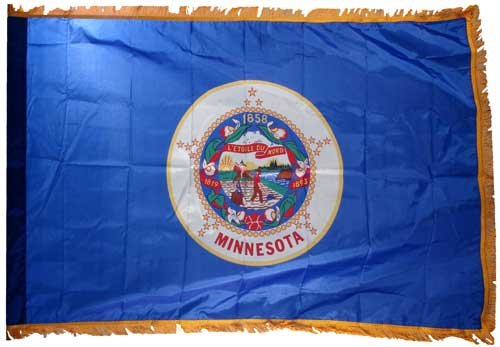 Valley Forge Minnesota 3x5ft Nylon Flag with Indoor Pole Hem and Fringe