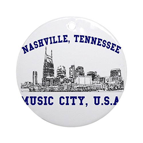 CafePress Nashville Music City US Ornament (Round) Round Holiday Christmas Ornament ()