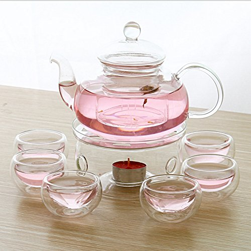 Glass Filtering Tea Maker Teapot with a Infuser, a Warmer and Tea (Filtering Glass Teapot)