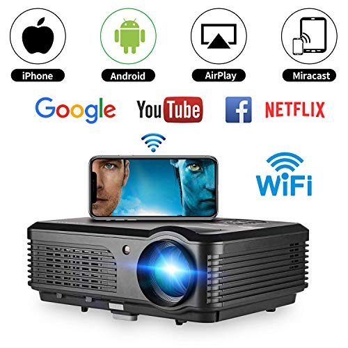 Home Wireless Projector, WIKISH LCD WiFi Video Movie Projectors 4400 Lumen TV Projector Support Full HD 1080p 50,000 Hours LED Lamp Life for iPad Smartphone Laptop Blue Ray DVD Player PS4