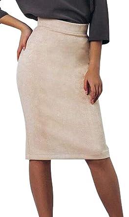 BingSai Falda de Ante sintético para Mujer, Sexy, Lisa, Cintura ...