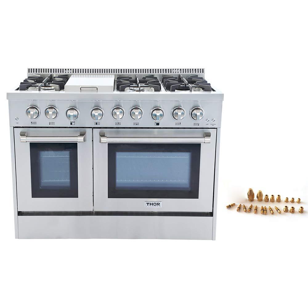 Thor Kitchen 48' Freestanding Professional Style Dual Fuel Range 6.7 cu. ft. Electric Oven 6 NP/LP Burners S tainless SteelHRD4803U (HRD4803U-LP)