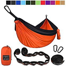 Gold Armour XL Double Parachute Camping Hammock - Tree Portable with Max 1000 lbs Breaking Capacity - Free 16 Loops Tree Strap & Carabiners for Backpacking, Camping, Hiking (Orange/Black)