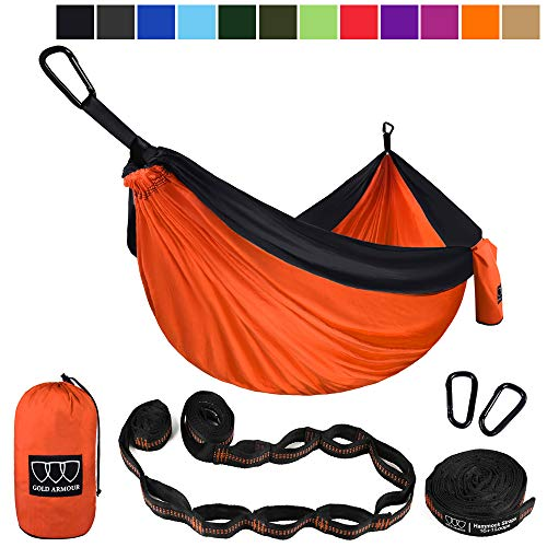 XL Double Parachute Camping Hammock - Tree Portable with Max 1000 lbs Breaking Capacity - FREE 16 Loops Tree Strap & Carabiners For Backpacking, Camping, Hiking, Travel, Yard (Orange / Black)