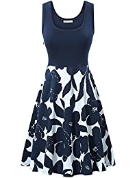 Women's Vintage Scoop Neck Midi Dress Sleeveless A-line Cocktail Party Tank Dress