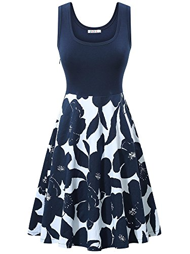 KIRA Womens Cocktail Dress Scoop Neck Floral Summer Beach Dress - Scoop Neck Dress