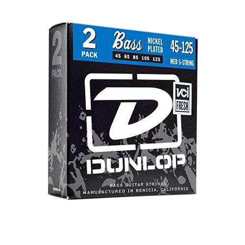 Dunlop 2PDBN45125 Nickel Wound Bass Strings, Medium 5-String, .045–.125, 2 Sets/Box