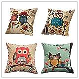 Cotton Linen Square Decorative Throw Pillow Case Owl Design Cushion Cover 18x18Inch (Owl theme)