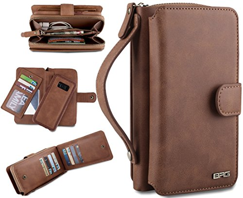 Eloiro Samsung Galaxy S8 Case, Premium Leather Zipper Wallet Carrying Case Detachable Folio Flip Holster Protective Snap Button Clutch Cover with Multiple Card Holder & Hand Strap for Galaxy S8 Brown by Eloiro