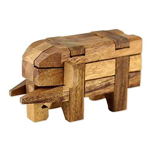 NOVICA Brown Raintree Wood Elephant Puzzle Game, 'Puzzles'