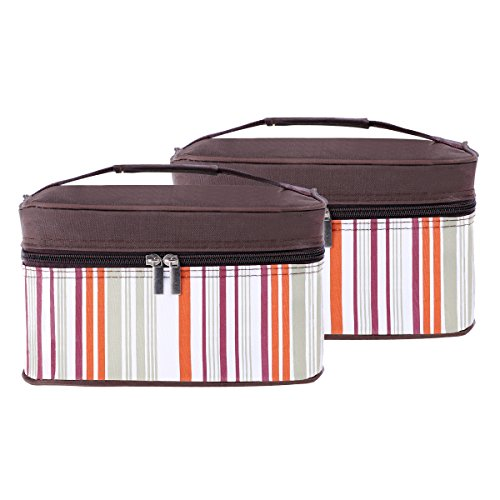 Insulated Lunch Box Bag Soft Cooler Reusable Tote Bag [2-Pack], 6 Cans Capacity, Zipper Closure, Leakproof Lining, for Kids, Adults, Work or School ()
