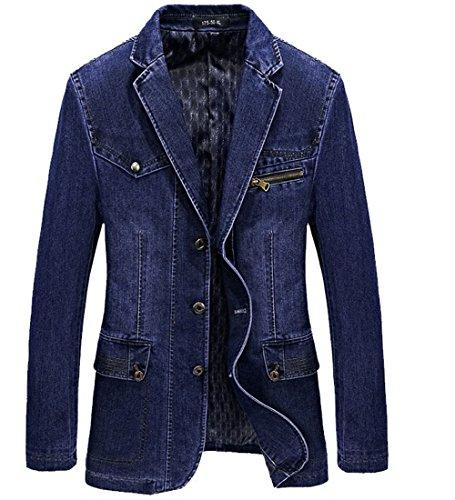 Lapel Single Breasted Denim - S&S Men Vintage Casual Lapel Single Breasted Denim Suit Blazer Jacket Outwear