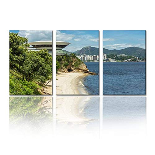 SALIZEN Museum of Contemporary Art in Niteroi Rio de janeiros and Pictures 3 Pieces Wall Art Paintings Perfect Canvas Art Vivid Color Modern Style Home, Living Room, Bedroom, Hotel Decoration Gift (Museum Of Contemporary Art Rio De Janeiro)