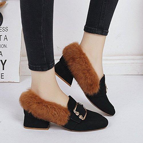2d328374 Zapatos de Cabeza Cuadrada con Cabello Grueso con Todo Tipo de Zapatos de  Lana Todos Coinciden ...