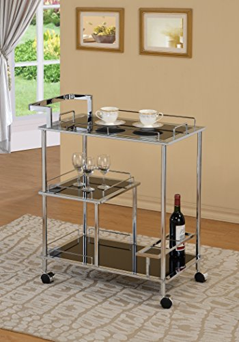 Heavy Duty Chrome Metal Bar Tea Wine and Glass Holder Serving Service Cart With Tempered Black Glass 3-tier Shelves (Glass Cart Holder Wine Bar)