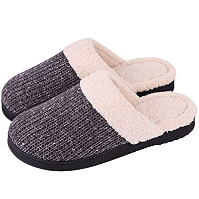 Snug Leaves Women's Slip-On Knit Slippers Memory Foam Plush Lining Indoor/Outdoor House Shoes