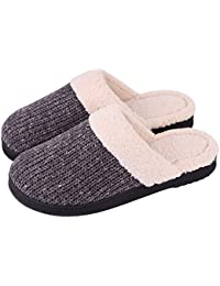 Women's Cozy Cotton Knit Slippers Wool-Like Memory Foam Indoor/Outdoor Anti-Skid House Shoes